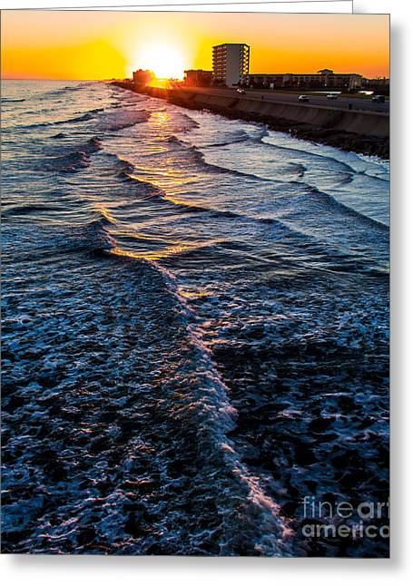 Gulf Sunset Greeting Card by Perry Webster
