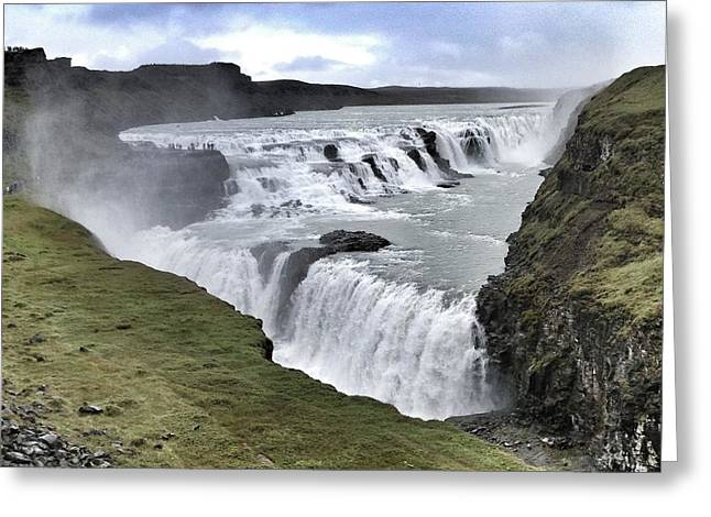 Gullfoss Falls Sw Iceland Greeting Card by John Potts