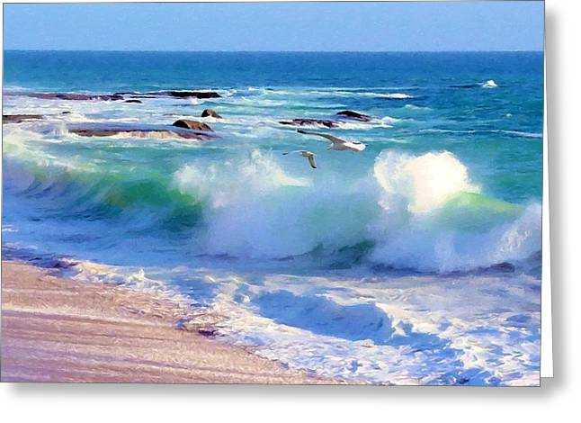 Gulls And Surf Greeting Card