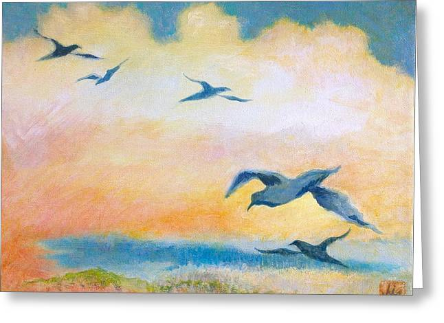 Gulls At Sunset Greeting Card by Julia Miller