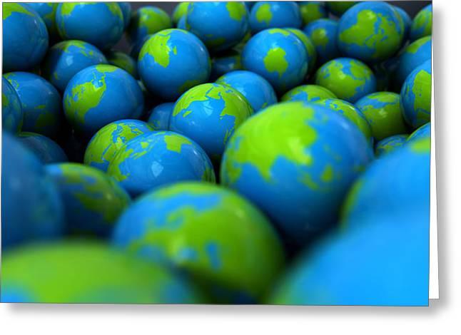 Gum Ball Earth Globes Greeting Card by Allan Swart
