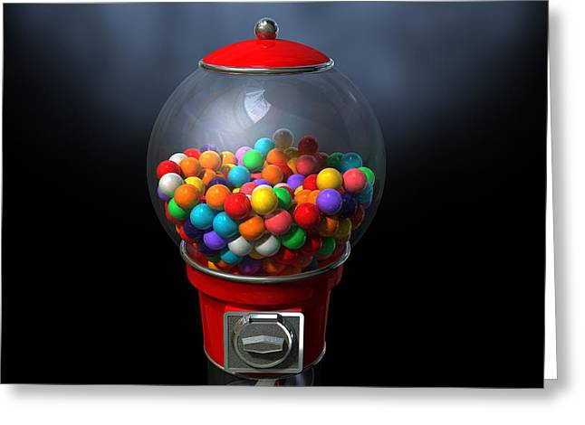 Gumball Dispensing Machine Dark Greeting Card by Allan Swart