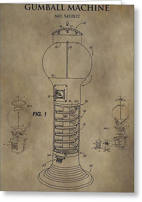 Gumball Machine Patent Greeting Card by Dan Sproul