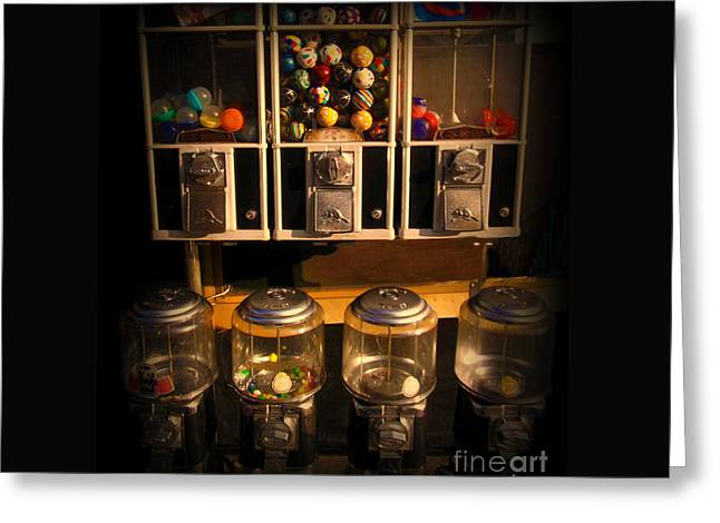 Gumball Memories - Row Of Antique Vintage Vending Machines - Iconic New York City Greeting Card by Miriam Danar