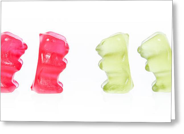 Gummi Bears Isolated On White Greeting Card by Handmade Pictures