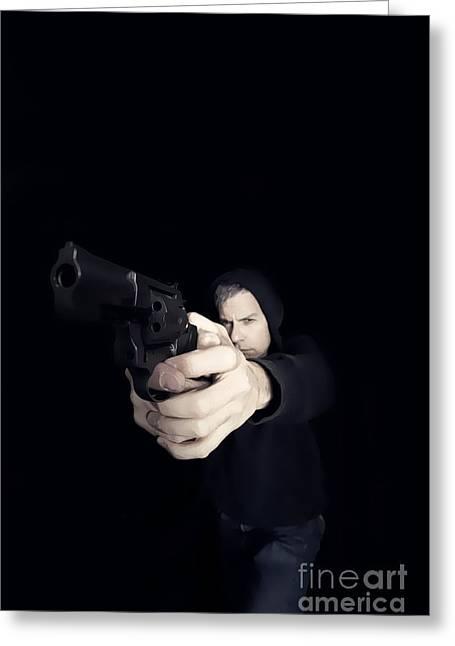 Gun Man Greeting Card