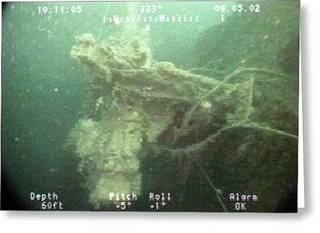 Gun Mounted On A Us Naval Shipwreck Greeting Card