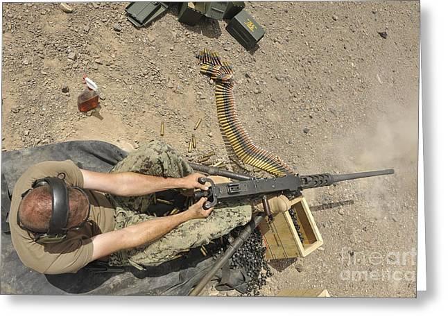 Gunners Mate Fires An M2 .50-caliber Greeting Card