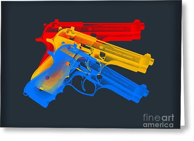 Guns Greeting Card by Mark Ashkenazi