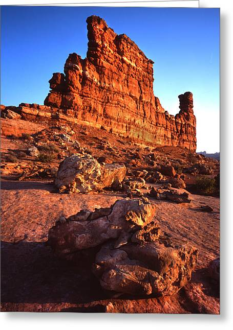 Gunsight Rock Greeting Card by Ray Mathis