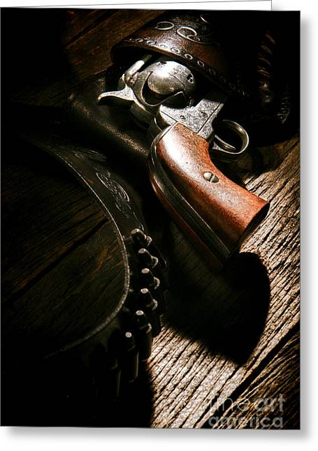 Gunslinger Tool Greeting Card by Olivier Le Queinec