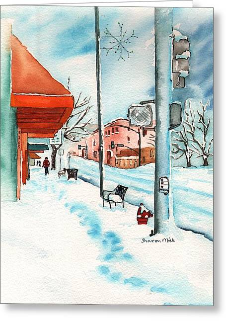 Gurley Street Prescott Arizona On A Cold Winters Day Western Town Greeting Card by Sharon Mick