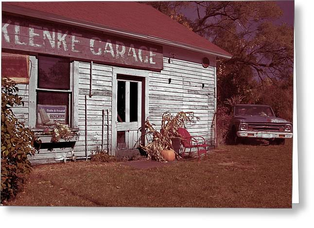 Greeting Card featuring the photograph Gus Klenke Garage by Chuck De La Rosa