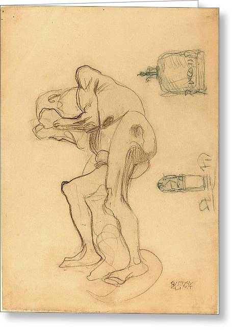 Gustav Klimt, Study Of A Nude Old Woman Clenching Her Fists Greeting Card
