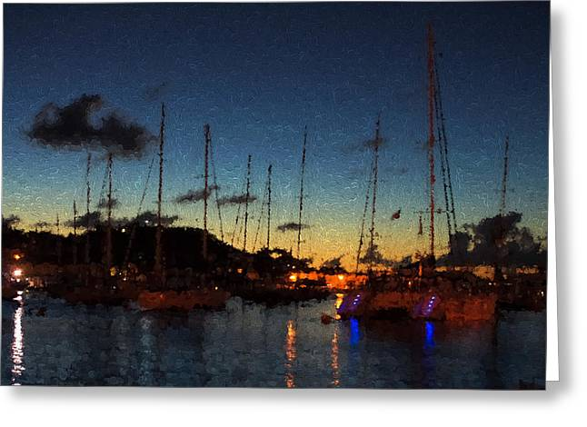 Gustavia St Barts Harbor Impressions Greeting Card