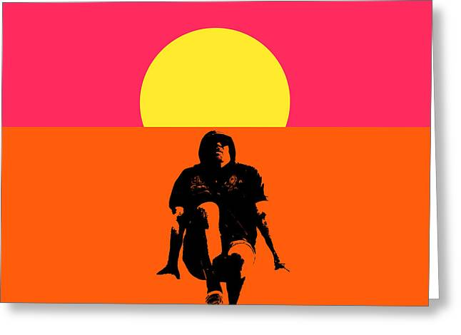 Guy Floating On Background Of Sunset Greeting Card by Tommytechno Sweden