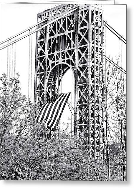 Gw Bridge American Flag In Black And White Greeting Card by Regina Geoghan