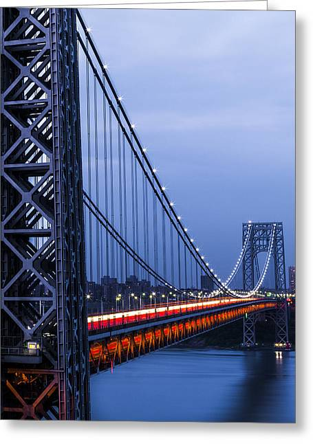 Gwb From Fort Lee Greeting Card by Chris Halford