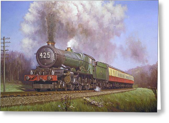 Gwr King Class On Dainton Bank. Greeting Card