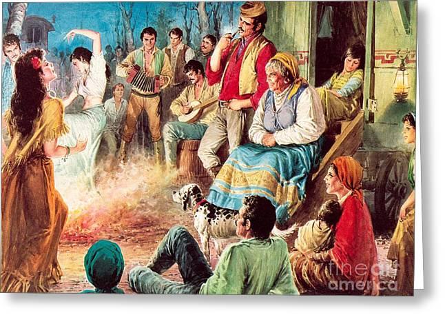 Gypsies Partying Greeting Card by English School