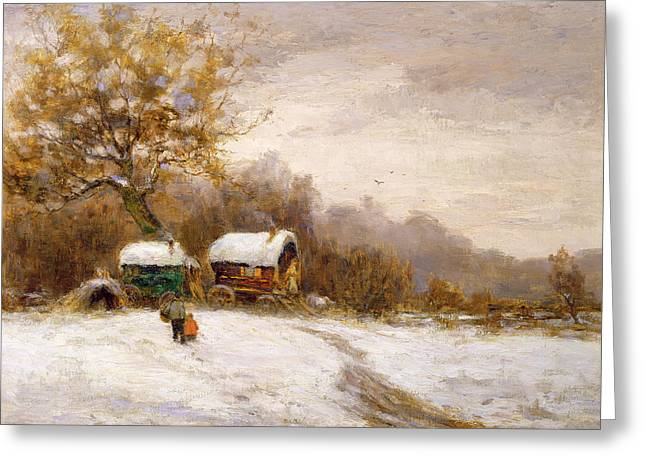 Gypsy Caravans In The Snow Greeting Card by Leila K Williamson