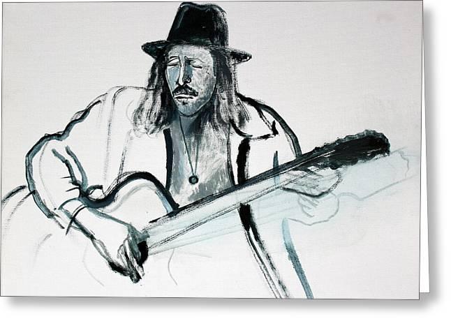 Gypsy Guitarist Greeting Card by Asha Carolyn Young