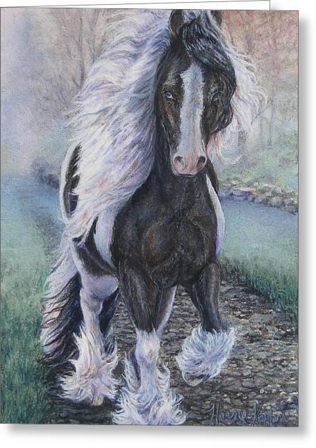 Foggy Morning Stroll Gypsy Horse  Greeting Card