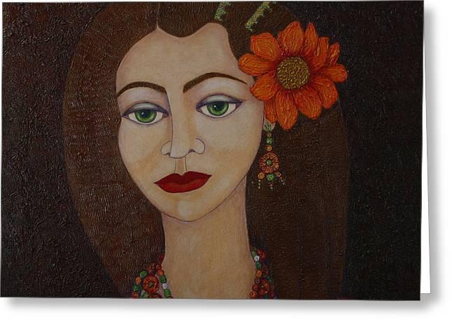 Gypsy With Green Eyes Greeting Card