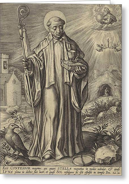 H Benedict Of Nursia, Hieronymus Wierix Greeting Card by Hieronymus Wierix