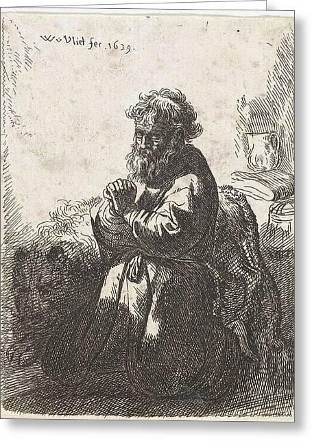 H. Jerome In Prayer Greeting Card by Willem Van Der Vliet And Rembrandt Harmensz. Van Rijn