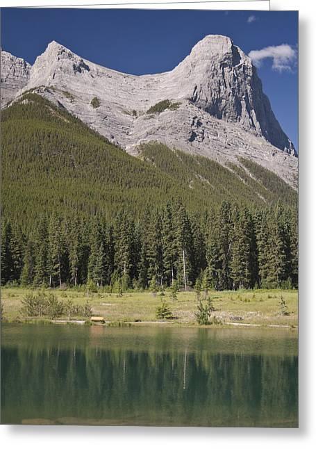 Ha-ling Peak Rises Above Quarry Lake Greeting Card by Richard Berry