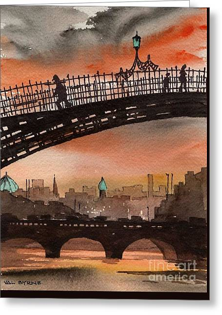 Ha Penny Bridge  Dublin 1 Greeting Card by Val Byrne