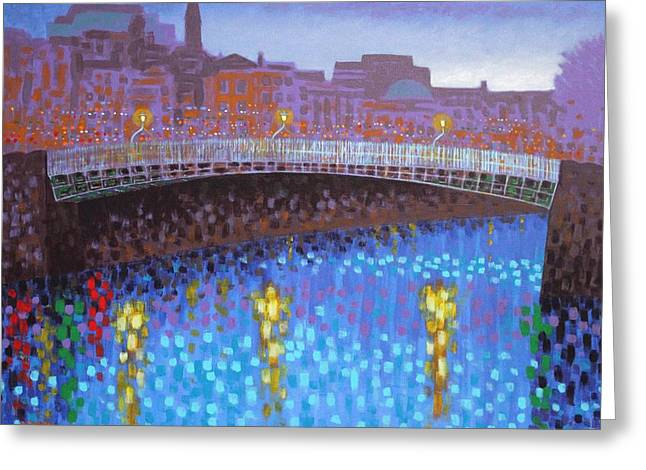 Ha Penny Bridge  Greeting Card by John  Nolan