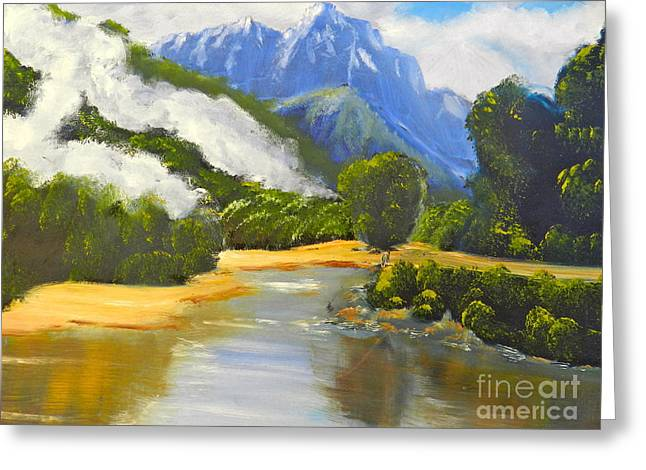 Greeting Card featuring the painting Haast River New Zealand by Pamela  Meredith