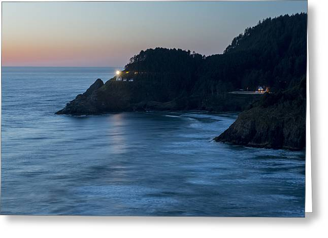 Haceta Head Lighthouse At Dusk Greeting Card