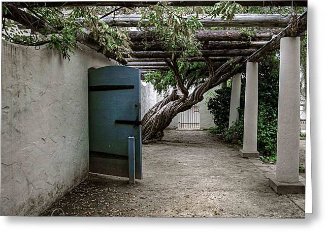 Hacienda Courtyard Greeting Card by Kandy Hurley