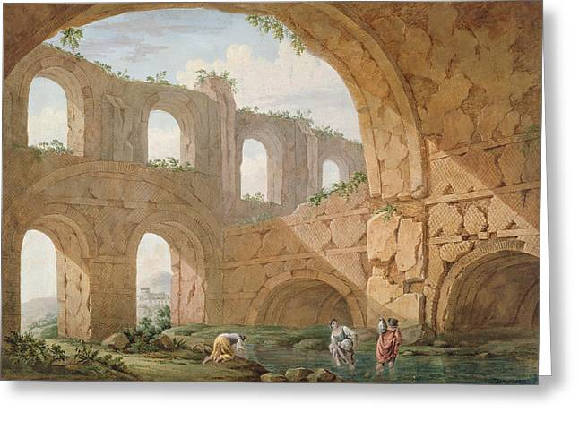 Hadrians Villa, Near Tivoli Greeting Card by Charles Louis Clerisseau