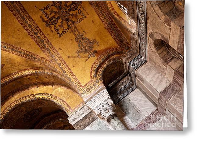 Hagia Sophia Arch Mosaics Greeting Card by Rick Piper Photography