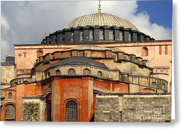 Hagia Sophia Ayasofya Meydani Byzantine Basilica Later Imperial Mosque Istanbul Turkey Greeting Card by Ralph A  Ledergerber-Photography