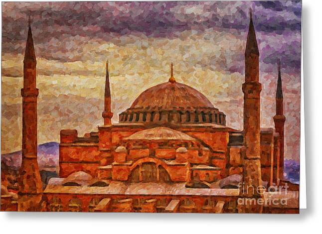 Hagia Sophia Digital Painting Greeting Card by Antony McAulay