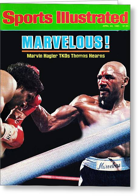 Hagler Vs Hearns Greeting Card by Allen Beilschmidt