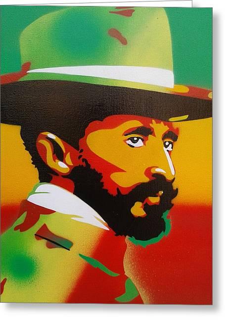 Haile Selassie Painting Greeting Card by Leon Keay