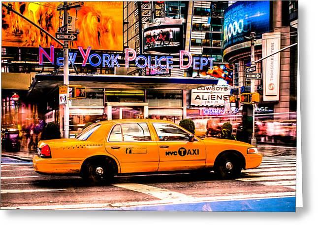 Hailing A Cab Greeting Card by David Hahn