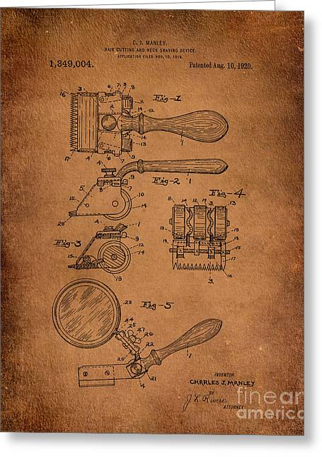 Hair And Neck Shaver 1920 Patent Art Antiqued Greeting Card by Lesa Fine