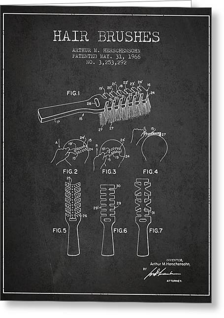 Hair Brush Patent From 1966 - Charcoal Greeting Card by Aged Pixel