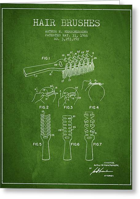 Hair Brush Patent From 1966 - Green Greeting Card by Aged Pixel
