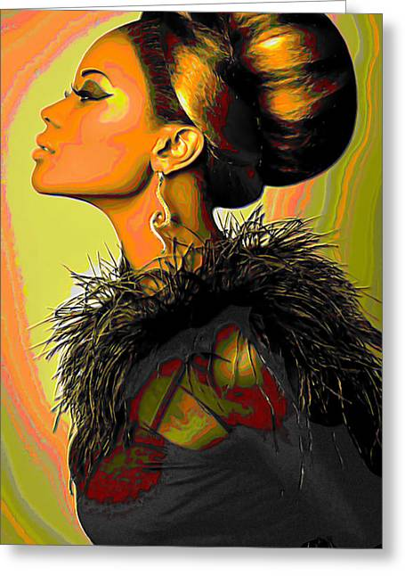Hair Bun Greeting Card by  Fli Art