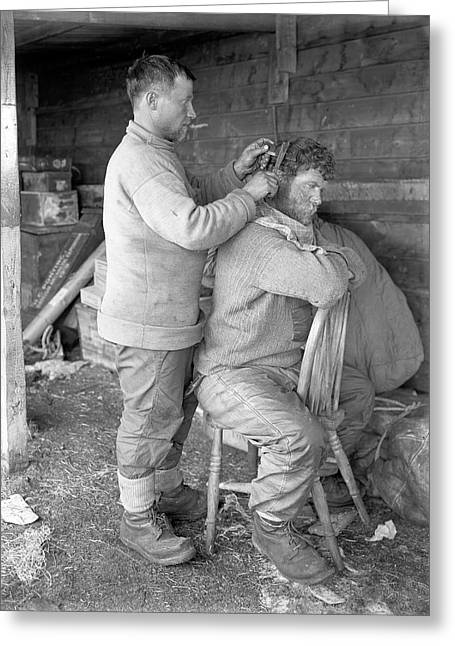 Hair Cut In The Antarctic Greeting Card by Scott Polar Research Institute