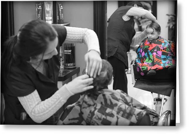 Hair Dresser - The First Cut Greeting Card by Lee Dos Santos