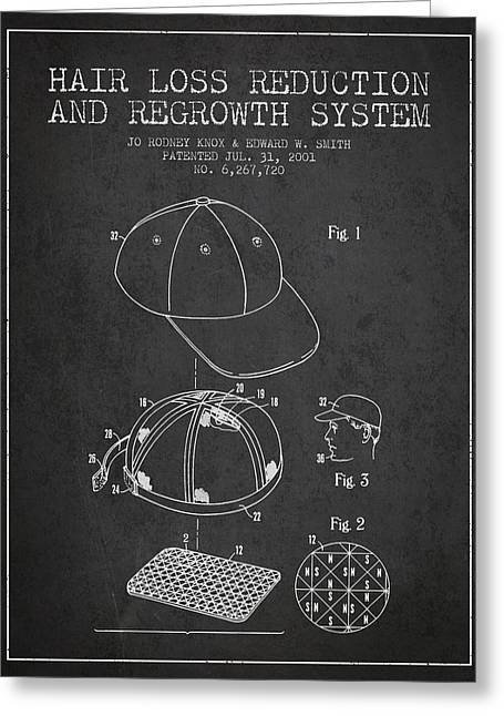 Hair Loss Reduction And Regrowth System Patent - Charcoal Greeting Card by Aged Pixel